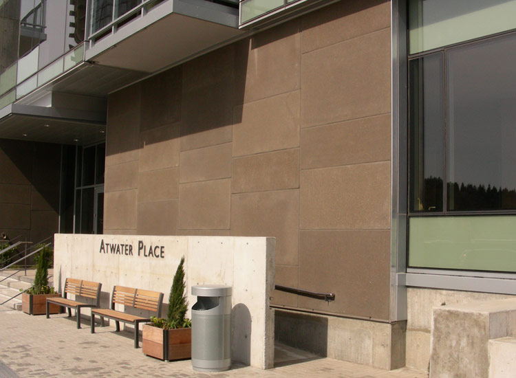 ARCIS panel rainscreen on front entrance of Atwater Place
