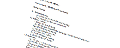 sample page of specifications